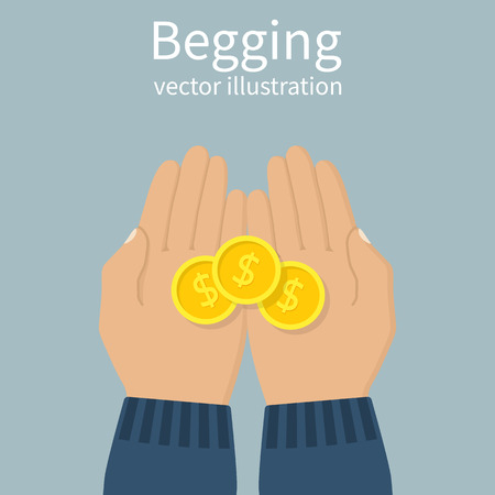 beg: Begging concept. Hand man begging money. Open palms with cash coins. Vector illustration flat design. Beg for money. Donation money. Illustration