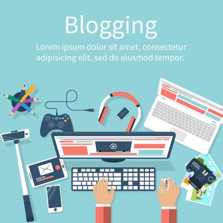 Concept blogging. Vector illustration flat design. Hands blogger working at computer, equipment for video recording. Digital blog. Web banner for promotional material.