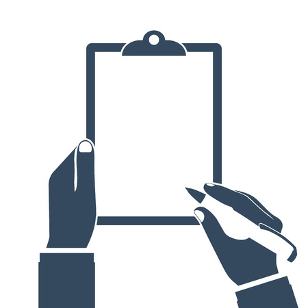 Man holds a clipboard and writes. Empty blank. Pen in hand. Blank sheet of paper to write. Vector illustration, flat design. Template for text. Empty area