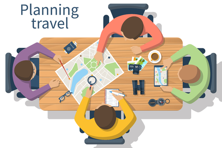 planning: Travel planning, vector. Trip plan. Team of people at the table planning a tourist trip plan.  Planning vacation, search place for holiday. Vector illustration of a flat design style. Travel concept.