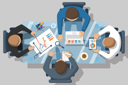 planning: Project management concept. Business team work on projects. Brainstorming. Business meeting, planning strategy, analysis, marketing research, financial management. Flat design, vector.