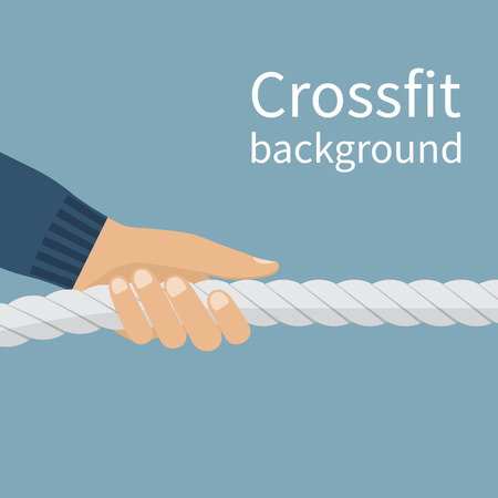 endurance: Crossfit concept. Vector sports background, hand pulling a rope. Heavy exercise. Hard core. Sports, lifestyle. Sports workout. Endurance exercises. For fitness and gyms.