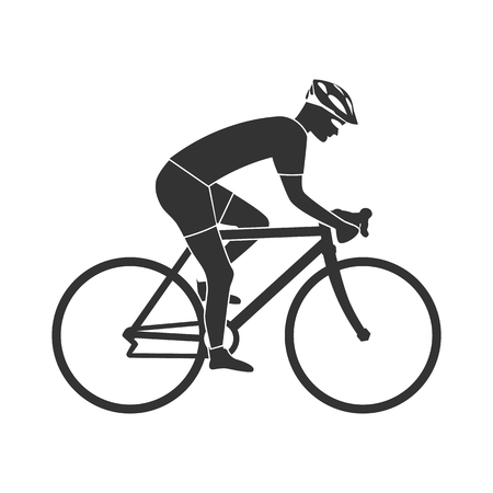 Cyclist silhouette icon, man on racing bike. Isolated icon sports bike races. Vector illustration. Speed racing bike. Stock Illustratie