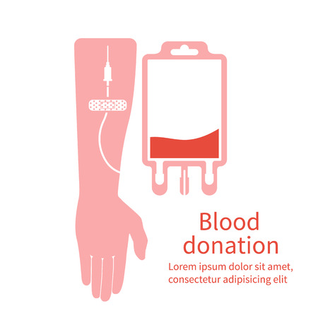 donates: Blood donation. Bag with tube, hand male donor. Vector illustration. Flat design style. Blood donor day. Blood donation concept for poster. Medical background. Human donates blood