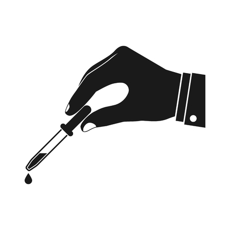 antidote: Pipette in hands doctor, icon. Flat design vector illustration. Hand holding a pipette with a falling drop of liquid. Illustration