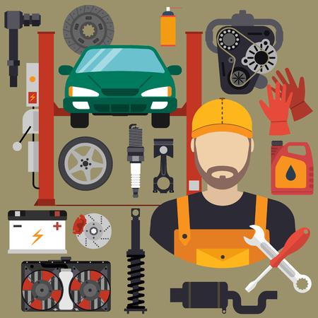 Kfz-Mechaniker mit einem Flach Icons Werkzeuge und Ersatzteile, Konzept. Reparatur Maschinen, Anlagen. Auto-Service-Konzept. Vektor-Illustration. Automechaniker-Symbol. Reparatur Auto flaches Design.