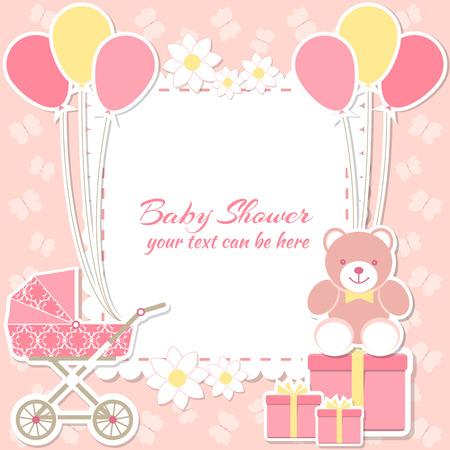 mariposa caricatura: niña de la ducha del bebé, tarjeta de invitación. El lugar de texto. tarjetas de felicitación. Ilustración del vector. Oso de peluche con una caja de regalo, fondo de color rosa, mariposa, flor.