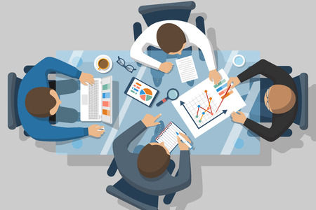 strategy meeting: Data analysis concept. Business people team analyzes the financial growth, research statistics on the chart. Planning strategy. Meeting businessmen, teamwork. Vector illustration flat design. Illustration