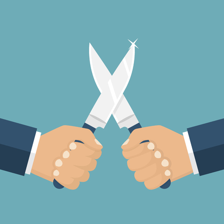 aggressor: Fight with knives, vector illustration flat design. Man holding a knife in his hand. Concept war, struggle, competition. Knife in hand. Solution of conflict fight with knives. Aggression, violence.