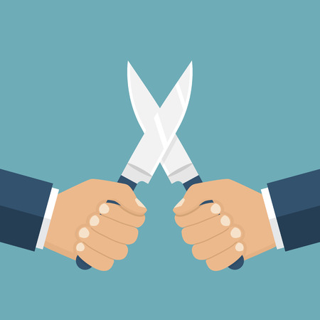 aggression: Fight with knives, vector illustration flat design. Man holding a knife in his hand. Concept war, struggle, competition. Knife in hand. Solution of conflict fight with knives. Aggression, violence.