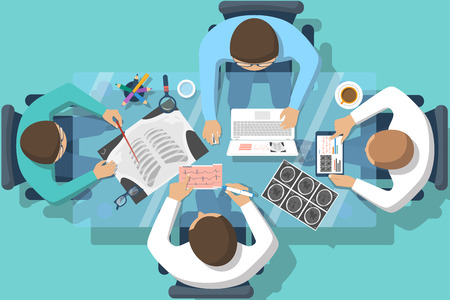 Medical team doctors at desktop. Diagnostic medical equipment. Research documents. Medical healthcare concept. Teamwork of doctors. Group of doctors, surgeons. Flat design, vector. Banner web, print