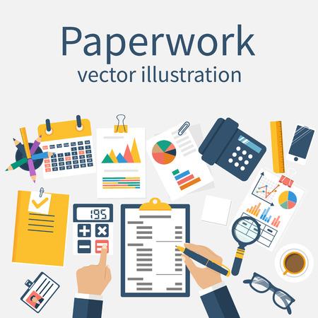 Papierkram, Vektor. Man arbeitet an seinem Schreibtisch auf Papierkram. Büroangestellter. Arbeiten Büroatmosphäre. Konzept für die überlasteten. Vektor-Illustration, flaches Design. Arbeiten mit Dokumenten.