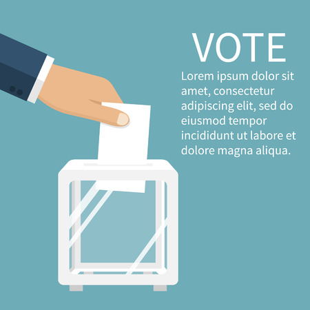 voter registration: Voting, election concept. Vector illustration flat design style. Man holds in his hand bulletin, puts in ballot box. Vote icon. Casting vote. Politics poll, choice. Voter makes choice Illustration