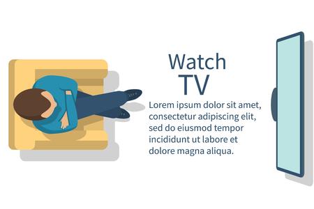 ver television: Mirar televisi�n. El hombre sentado en el sill�n viendo la televisi�n. ilustraci�n vectorial dise�o plano. bandera plantilla para el dise�o web.