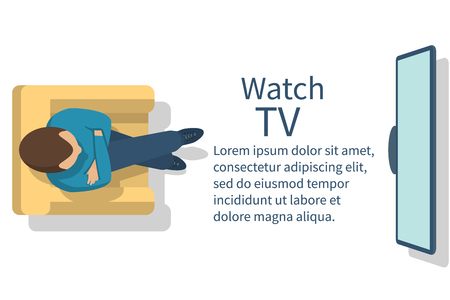 watch tv: Watch TV. Man sitting in armchair watching television. Vector illustration flat design. Template banner for web design.