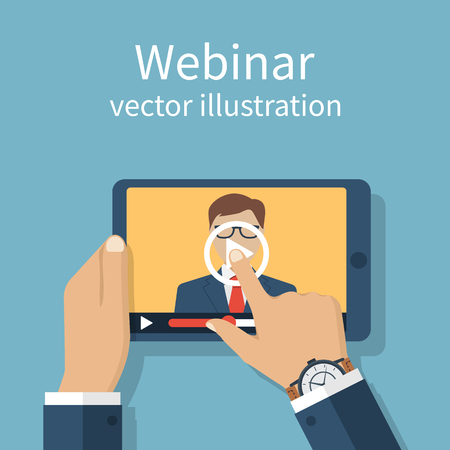 Webinar, online conference, lectures, training in internet. Distance learning. Vector flat design. Online presentation. Businessman hand tablet touching screen. Webinar web template banner. Vettoriali