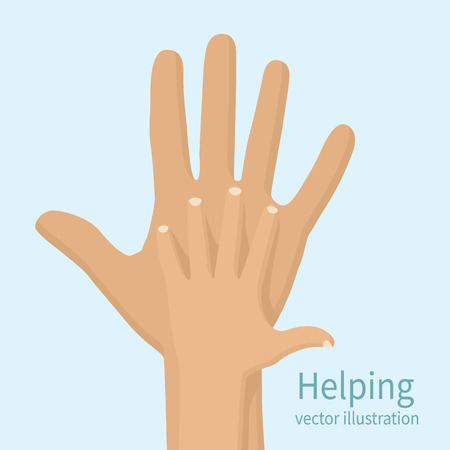 caring: Helping hand, vector illustration flat design. Caring hand. Symbol caring, care, help.
