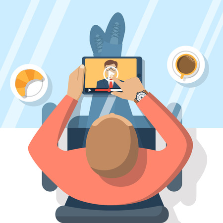Webinar, online conference, lectures, education  and training in internet. Distance learning. Vector illustration flat design. Online presentation. Businessman hand tablet touching the screen.