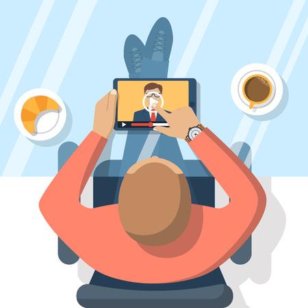 Webinar, Online-Konferenz, Vorträge, Bildung und Ausbildung in Internet. Fernunterricht. Vektor-Illustration flaches Design. Online-Präsentation. Geschäftsmann Hand Tablette den Bildschirm zu berühren.