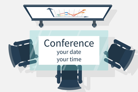 lecture hall: Invitation to the conference. Vector illustration, flat design. Empty  audience, meetings, conferences, lectures, top view. Business events concept. Invitations to the meeting.