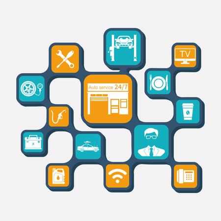 refueling: Concept car service. Set icons auto repair and garage. Auto service. Diagnostics car: charging battery, repair, refueling, tire pressure, oil, car wash.