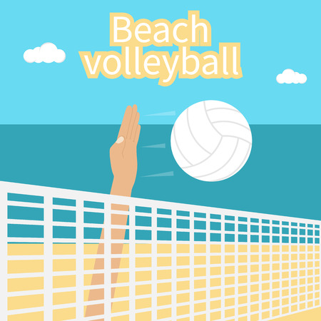beating: Beach Volleyball. Hand athlete beating at the volleyball ball. Template for the competition in volleyball. Can be used as a poster.