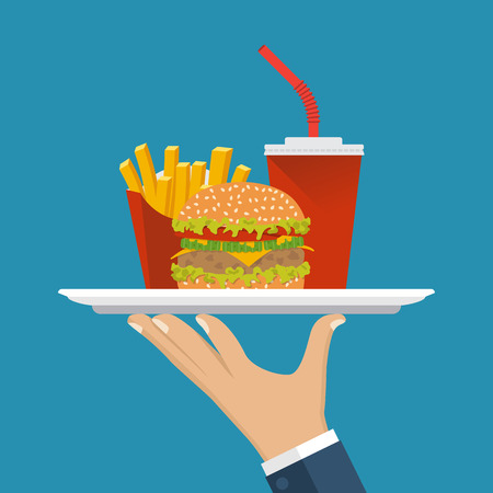 delivers: Waiter delivers the food. Service in cafe fast food, man with a tray. Fast food: hamburger, fries, soda. Vector illustration flat design. Takeaway food. Illustration