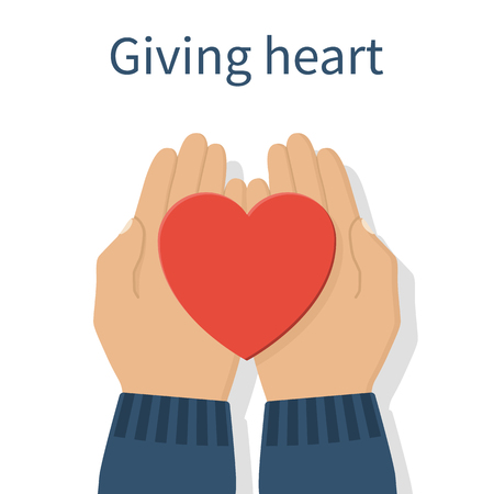 Hands giving red heart. Vector illustration flat design. Holding heart in hands.