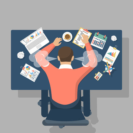 Man at desk, overwhelmed hard work. Stress at work. Fatigue at work. Vector illustration flat design. Vettoriali