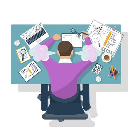 Student Stress. Flache Design-Stil Vektor-Illustration. Müder Kursteilnehmer für die Ausbildung Tisch. Prüfungsvorbereitung.