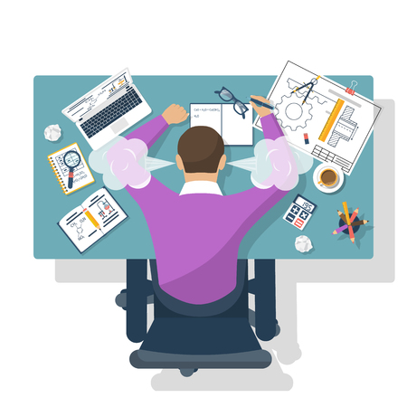 Student stress. Flat design style vector illustration. Tired student for training table. Exam preparation.