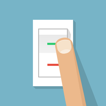 activate: Finger presses the button switch. Vector illustration flat design style. Electric control switch by pressing a hand.