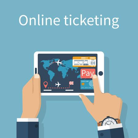 Compra, la reserva de billetes de avión en línea. El pago de boletos con tarjeta de crédito en Internet. El hombre sostiene una tableta en manos de órdenes de venta de entradas.