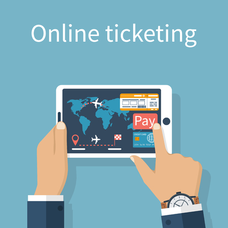Purchase, booking airline tickets online. Payment for tickets by credit card on Internet. Man holds a tablet in the hands of ticket orders. Illustration
