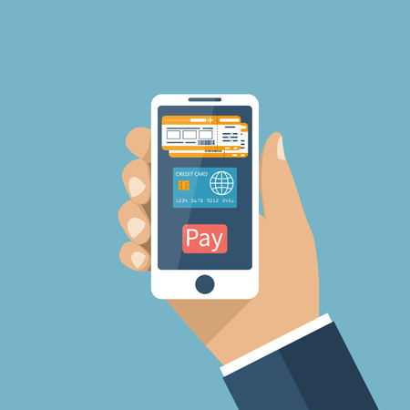 purchase order: Purchase, booking airline tickets online. Payment for tickets by credit card on Internet. Man holds smartphone in hands order ticket.