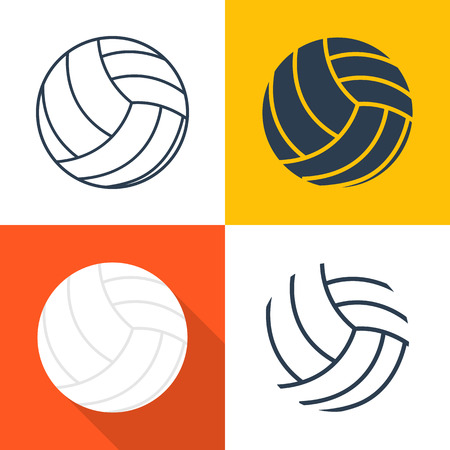 Set icons volleyballs: black silhouette, outline of the ball, flat design with long shadow, line. Vector illustration. Sports Equipment. Isolated volleyball.