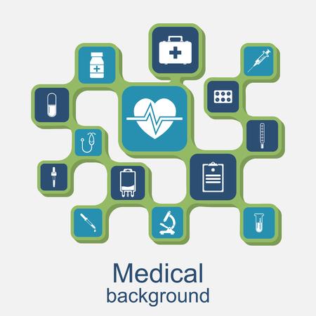 medical equipment: Medical concept background. Icons of medical equipment, diagnostics and medicine. Illustration