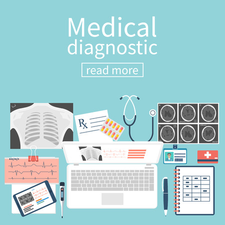 laptop icon: Medical diagnostics concept. Work table with doctor diagnostic equipment for research of a laptop. Illustration