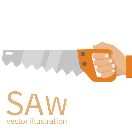 woodworker: Man holding saw. Carpenter with saw in his hand. Vector illustration flat design. Carpentry work. Lumberjack, cabinetmaker, woodworker.