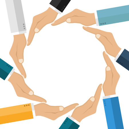 unification: Human hands making circle. Symbol unification friendship, protection. Connecting people. Empty space. Can use as template presentations. Isolated hand white background. Vector illustration flat design