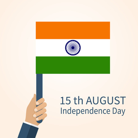 15 august: Indian Independence Day, August 15. Vector Illustration flat design style. Man holding national flag of India. Illustration