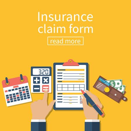compensate: Insurance claim form. Man writes form, holding clipboard in hand. Vector illustration flat design. Illustration