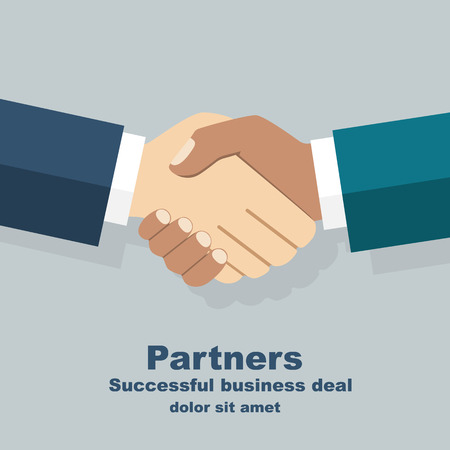multiracial: Handshake isolated. Symbol of a successful interracial business deal. Multiracial handshake between two businessmen. Friendship of Peoples. Vector illustration flat design.