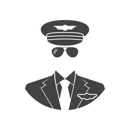 Icono de piloto. Ilustración del vector de estilo de diseño plano. Negro piloto avatares silueta, sobre un fondo blanco aislado. Ilustración de vector