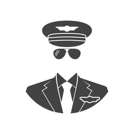 cabin attendant: Pilot Icon. Vector illustration of flat design style. Black silhouette avatars pilot, on a white background isolated.