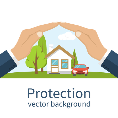 Concept security of property. Insurance home, car, money. Insurance agent holds in hand of house, protection from danger, providing security. Vector illustration flat design. Property insurance vector