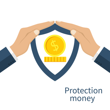 protect concept: Protection money. Man holding hands over the money to protect. Concept of a safe and secure investment, insurance. Vector illustration flat design style. Gold coins under the shield.