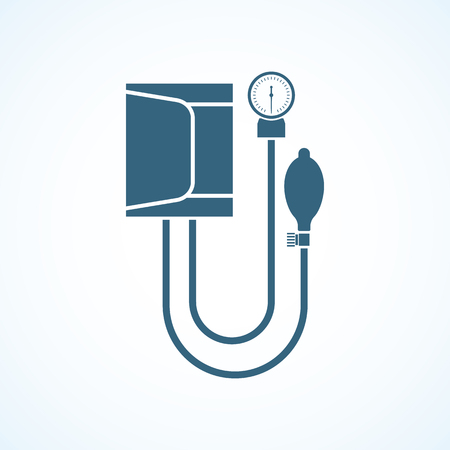 Blood pressure. Icon tonometer isolated on background. Measuring arterial blood pressure medical. Vector illustration of a flat design. Medical equipment.