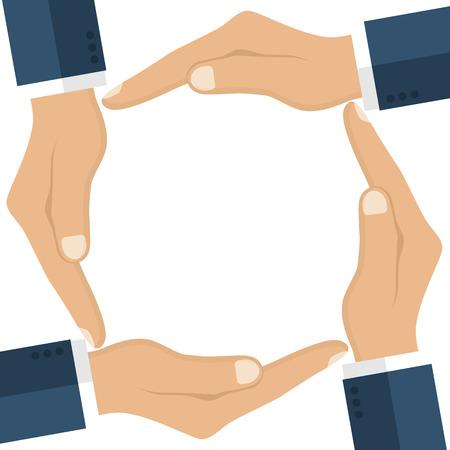 unification: Human hands making circle. Symbol unification, friendship, protection. Vector illustration flat design.