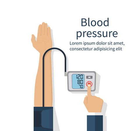 man measurement: Man checking arterial blood pressure. Healthcare concept. Vector illustration flat design. Blood Pressure measurement, digital tonometer. Medical equipment. Monitoring health.